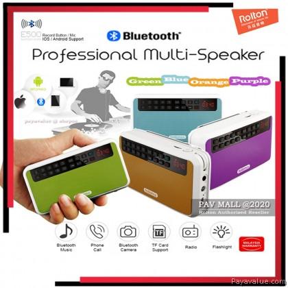 Original  Rolton E500 Mini Stereo Bass Wireless Bluetooth Speakers Portable FM Radio