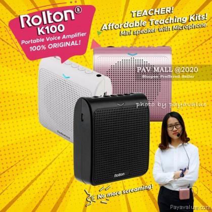 Ready Stock  Rolton k100 Portable Voice Amplifier Mic Speaker for Teacher Megaphone Pembesar Suara Kelas Wireless