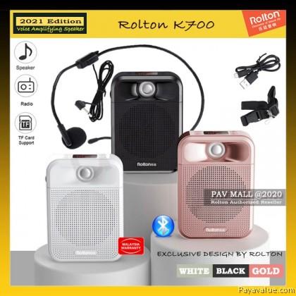 New Model  2021 Rolton K700 Voice Amplifier Bluetooth 5.0 Speaker FM Radio SD Card MP3 Audio Recording Dual Speakers