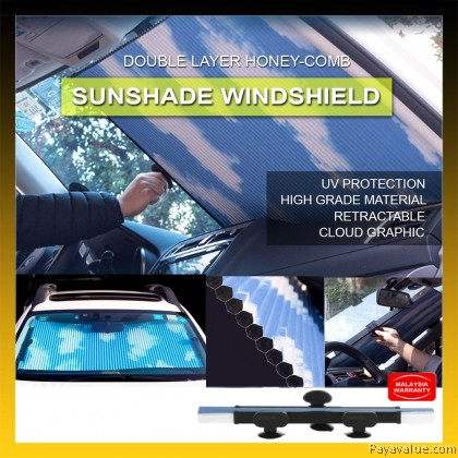 New  Quality Double Layer Honeycomb Telescopic Shade Retractable Sun Shield for Car Windscreen UV Protection Sun Block