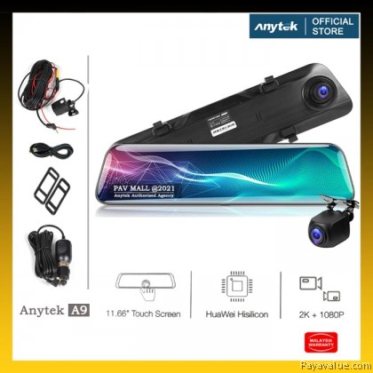 New  Anytek A9 Mirror Cam DVR 2K 1440P+1080P 11.66in Car Dual Camera Night View 2.5D Curve Screen Huawei Hisilicon Tech