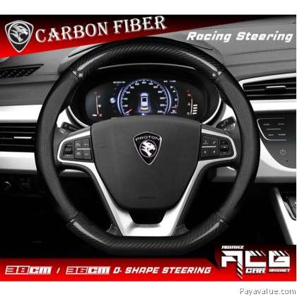 Proton X70 X50D shape Sport Racing Steering Cover Carbon Fiber LeatherSport SUV Anti Sweat Pelindung Penutup Stereng