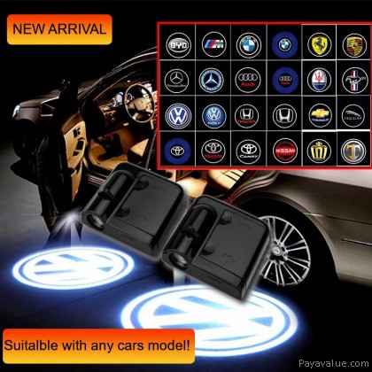 2pcs Universal Wireless LED Shadow Projector Courtesy Step Lights Welcome Lights Cars Door Shadow Light Laser